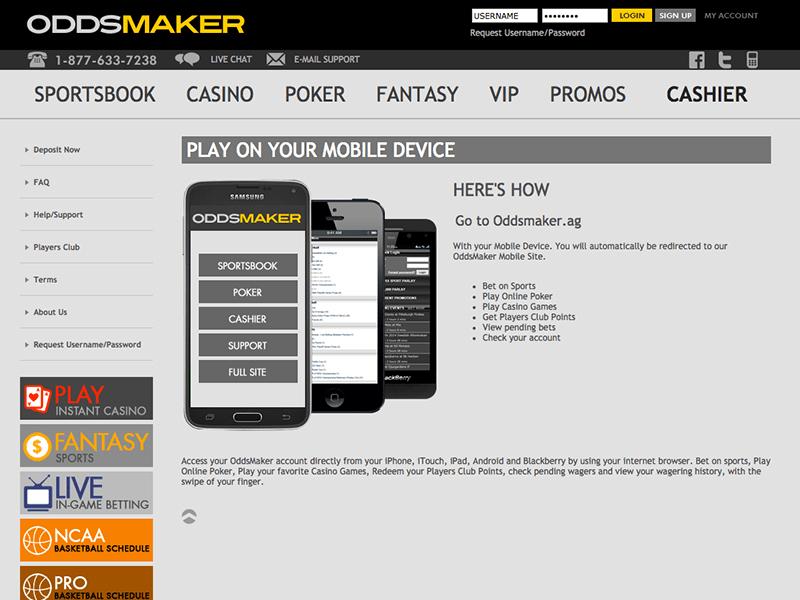 Oddsmaker mobile betting aiding abetting procuring broker